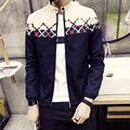 Envío gratis 2015 nuevo Coreano Delgado insignias de cuello chaqueta de mezclilla lavada y azul de ocho colores