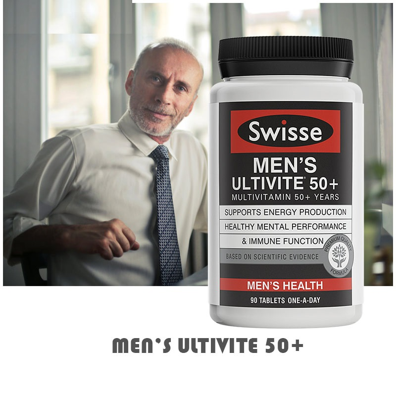 Australia Swisse Multivitamins For 50+Year Men Maintain Energy Activity Levels Mental Alertness Stamina Vitality During Stress