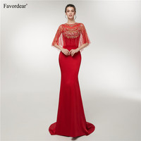 Favordear Top Quality Long Formal Gowns Robe De Soiree Red Mermaid Long Evening Dresses With Cape 2019
