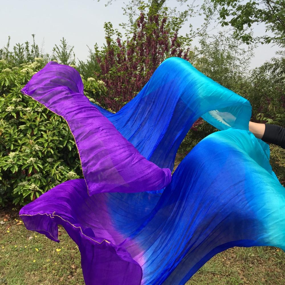 1 հատ = 2 հատ 1,8 մ Belly Dance 100% Silk Fan Veils բարձրորակ կին փորիկ Երկրպագուներ վաճառքի գործարանի գին