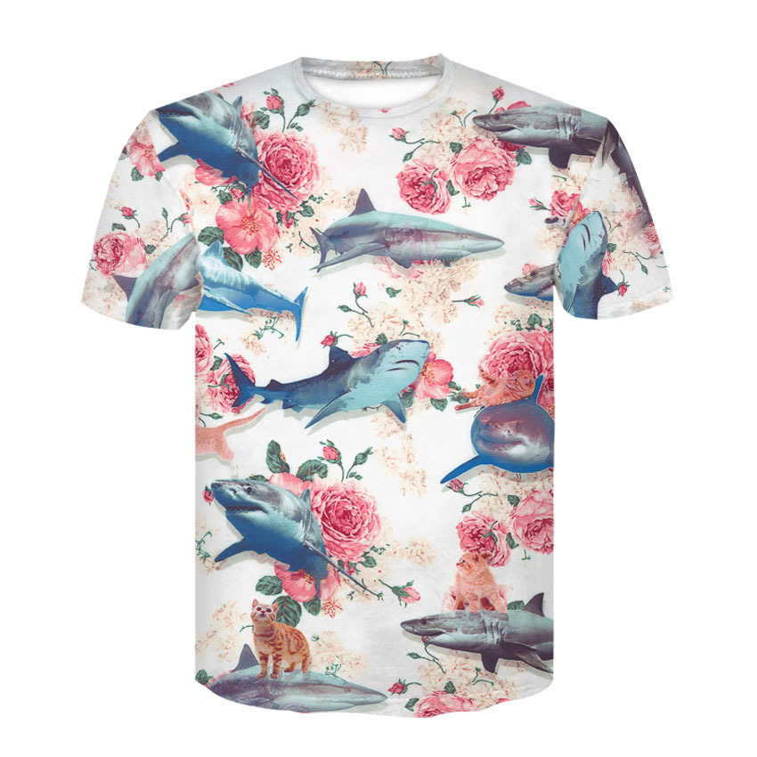 Shark   T     Shirts   Men fashion summer   t     shirt   Funny   T  -  shirt   Short Sleeve Casual tops tees plus size for men 3d print flower Tshirt