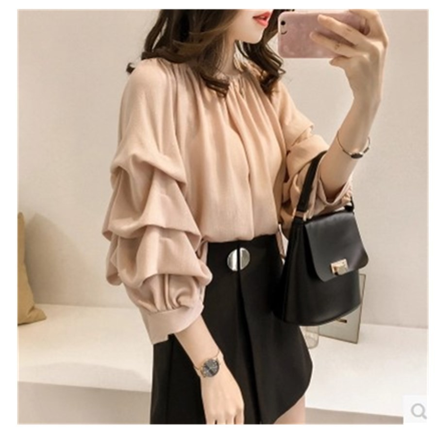 Spring New Pattern Korean Temperament One Word Lead Chiffon Shirt Woman Solid Color 2