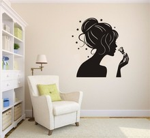 Wall Decals Girl Silhouette Beauty Lady Hair Sticker Salon Shop Art Vinyl Living Room Adhesivo NY-382