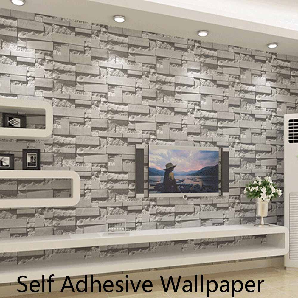 Self adhesive brick stone wallpapers 3d wall paper for Home 3d wallpaper wallcovering