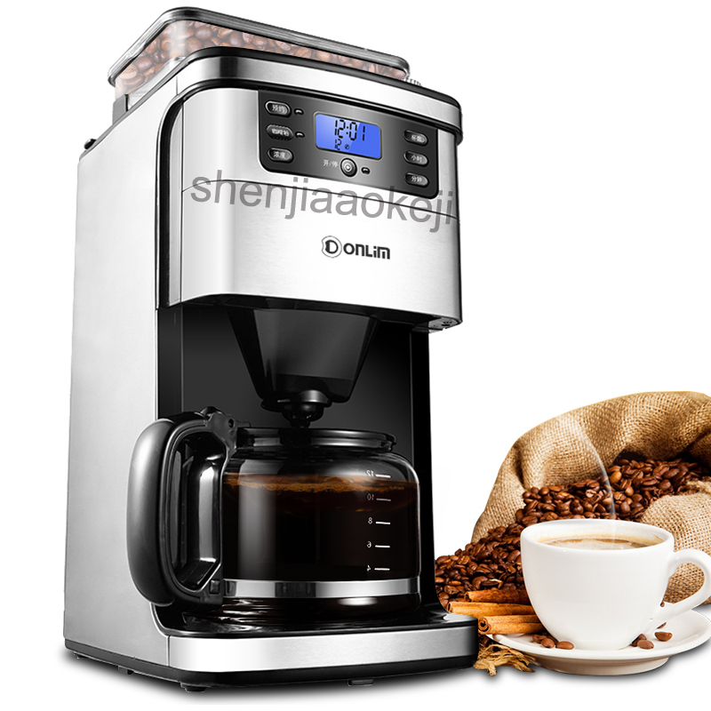 Commercial automatic coffee machine KF800 household grinding bean Cafe American machine drip coffee maker 220V 900W 1pc md236 commercial drip coffee maker household automatic american coffee maker