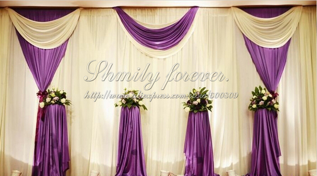 Pretty Elegeant White Purple 6m Width X3m Height Wedding Backdrop Curtains Stage Banquet Decorations