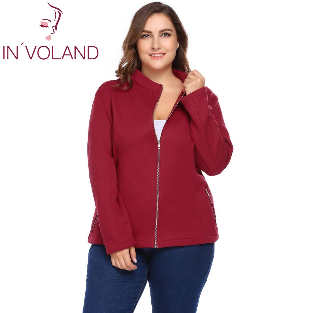 IN'VOLAND Women Jackets Plus Size L-4XL Spring Autumn Casual Long Sleeve Solid Zipper Pocket Large Fleece Warm Coat Big Size