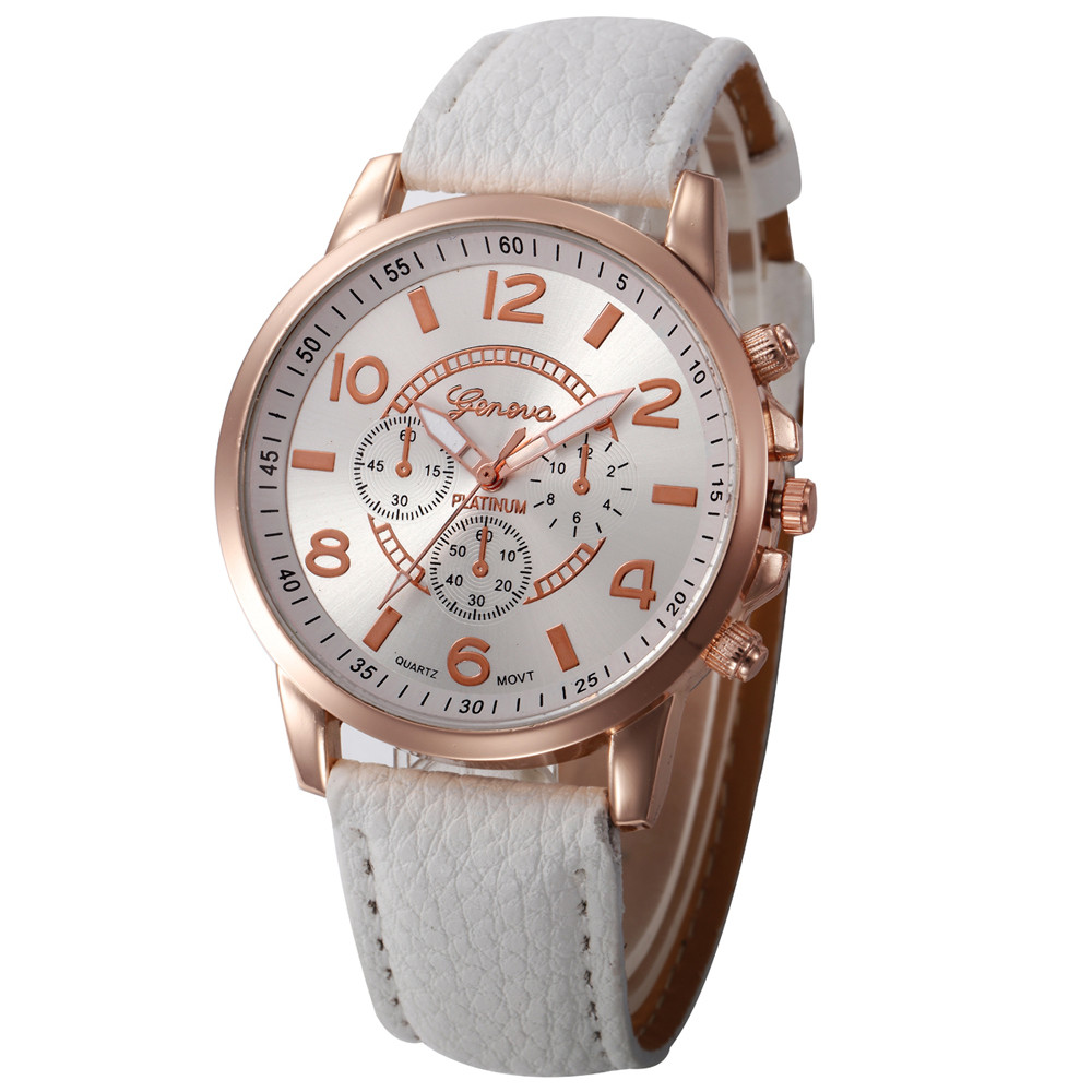 Geneva Women's Watch Women Casual Checkers Faux Leather Quartz Analog Wrist Watch Relogio Feminino C50