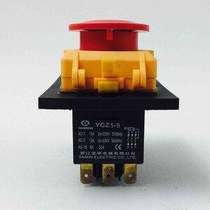 Image 3 - الكهرومغناطيسية التبديل 7 دبوس on off التبديل الروتاري مجتمعة 16a 230 فولت مع غطاء حماية قفل للماء YCZ4 C