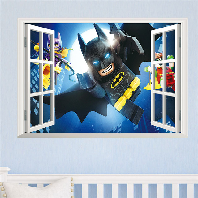 cartoon batman wall sticker for kids rooms 3d window wall decal