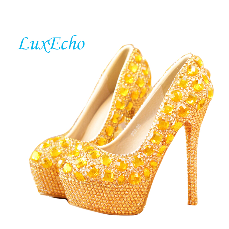 Gold rhinestone ultra high heels bridal shoes women performance round toe thin heels shoes hot-selling size 35-39 electrolux e 210 ultra long performance