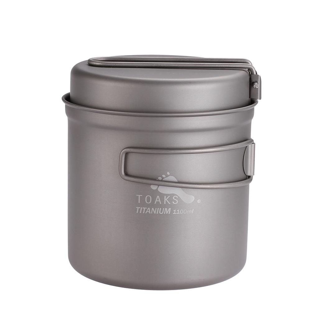 TOAKS 1100ml Cookware Set Ultralight Titanium Pot Frying Pan Outdoor Camping Titanium Bowl Titanium Cup Picnic