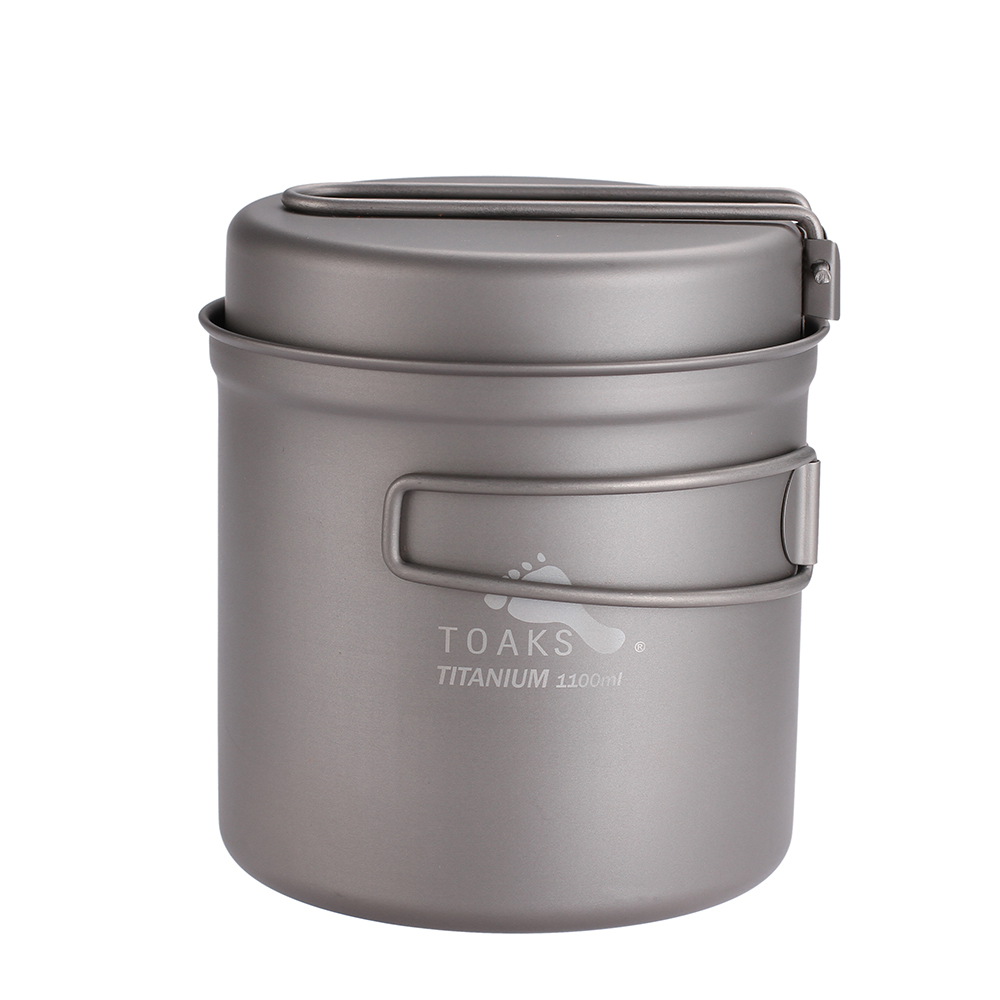 TOAKS 1100ml Kochgeschirr Set Ultraleicht Titan Topf Braten Pan Outdoor Camping Titan Schüssel Titan Tasse Picknick