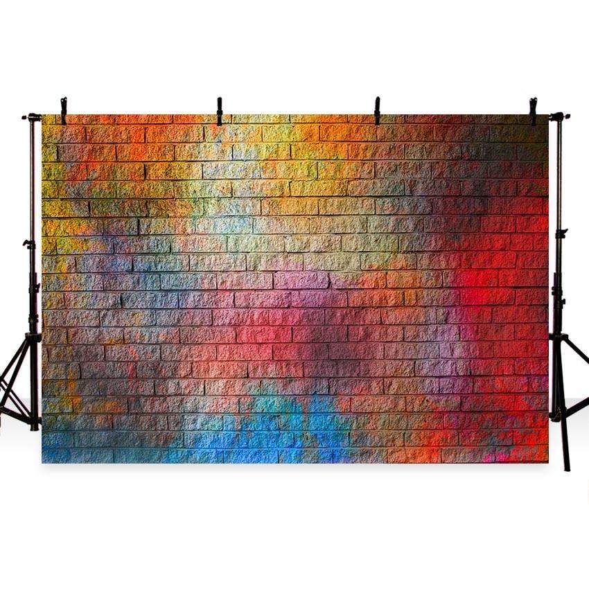 Fotografie Achtergronden 7x5 Kleurrijke Retro Bakstenen Muur - Camera en foto