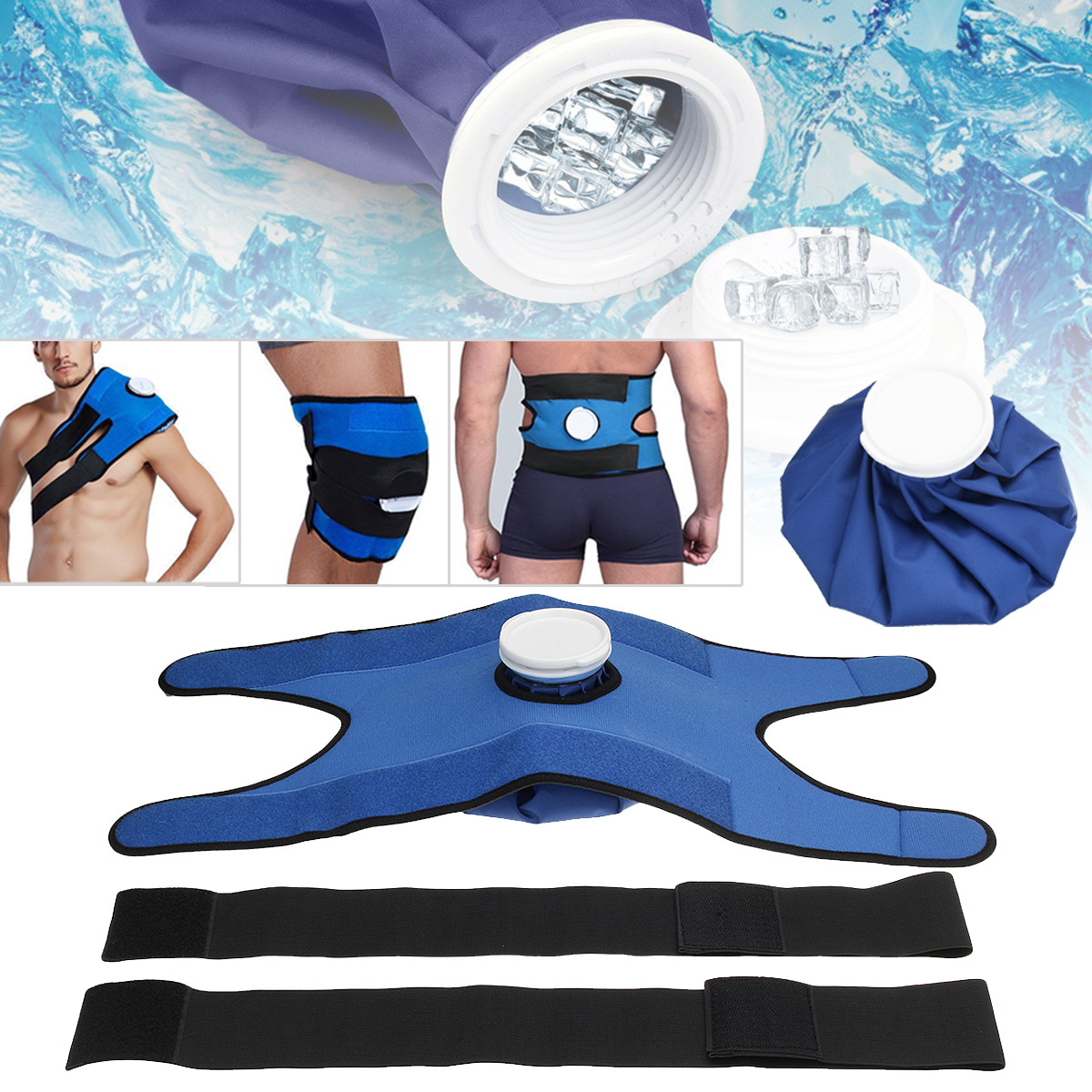 New Pain Relief Hot Cold Therapy Reusable Ice Bag Pack Wrap for knee Shoulder Back Muscle Waist Relaxing Health Care Blue Brace