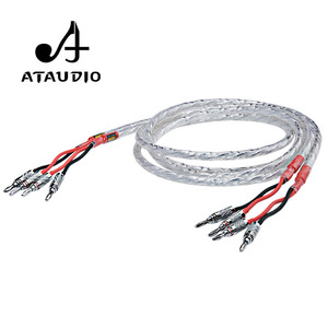 Image 2 - One Pair ATAUDIO HIFI Silver plated Speaker Cable Hi end 6N OCC Speaker Wire For  Hi fi Systems