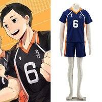 Haikyuu Cosplay Karasuno High School Uniform Jersey Volleyball Club Cosplay Costume Number 6 Men Sportswear Halloween