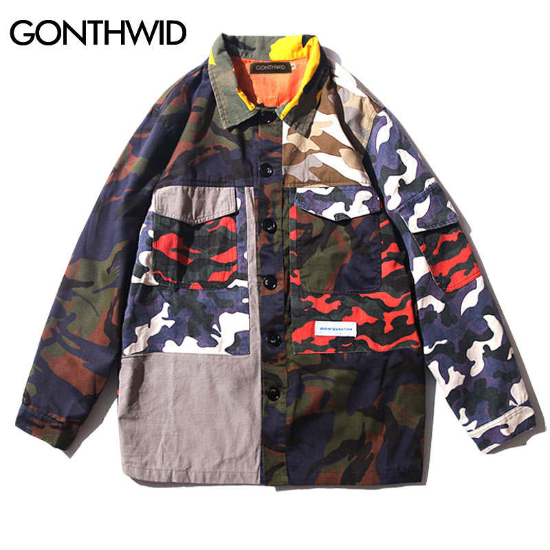 Womens Vintage Loose Camouflage Coat Army Camo Bomber Jackets Outwear LOT E0