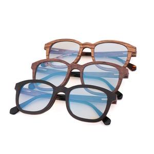 Image 4 - جديد ريترو ساندويتش الخشب نظارات الرجال اليدوية بحتة موضة الأزرق عدسات إضاءة واقية من الإشعاع النظارات الشمسية استبدال عدسة