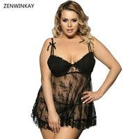 2017 Black Lace Chemise Slutty Clothing Sexy Erotic Costumes Women Babydoll Dress Sex Lingerie Plus Size Lingerie 5xl