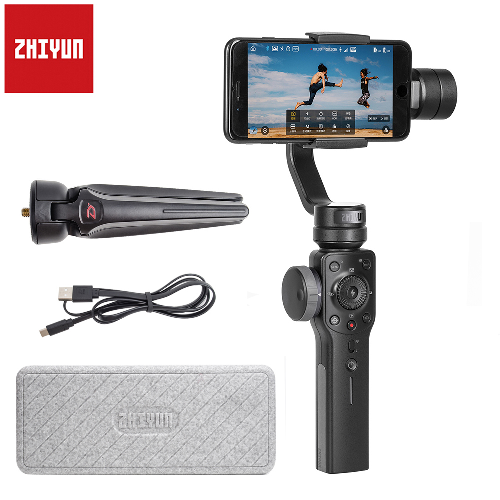 Zhiyun Smooth 4 3-Axis Handheld Portable Gimbal Stabilizer for iPhone X 8Plus 8 7 7Plus 6S SE for Samsung S9 S8 S7 PK Smooth Q