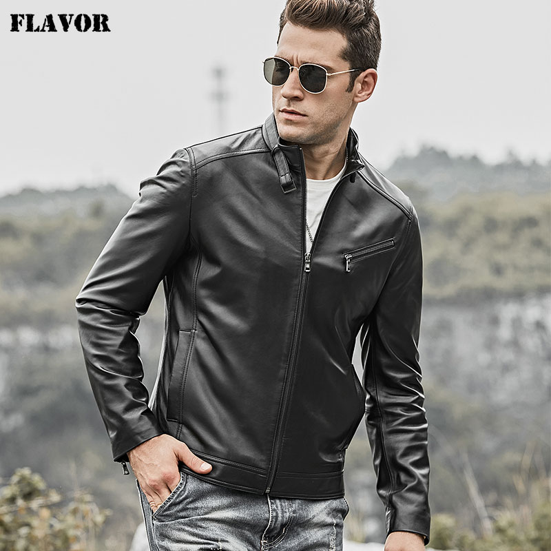 FLAVOR 2018 Men's Real Leather Jacket Men Lambskin Motorcycle Leather Slim Fit Coat