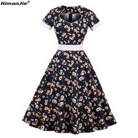 HimanJie Women PlusSize S 4XL Cotton Small Daisy Print Vintage Floral Dress 60s Retro Rockabilly Swing