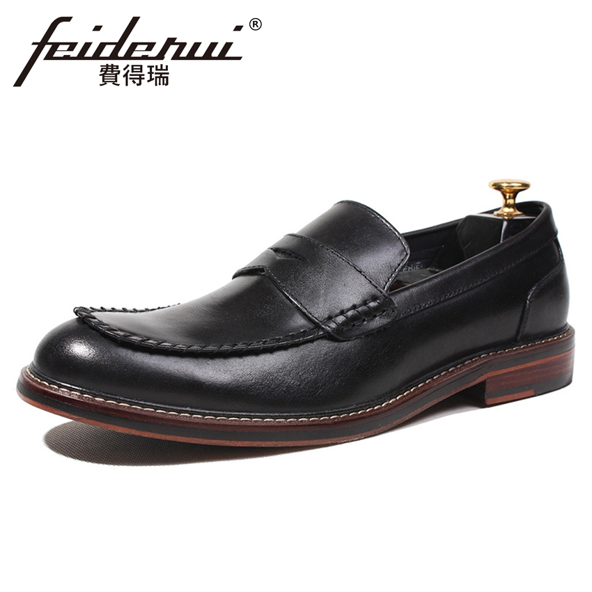 2018 Fashion Designer Genuine Leather Men's Comfortable Loafers Vintage Round Toe Slip on Handmade Man Boat Casual Shoes HQS169
