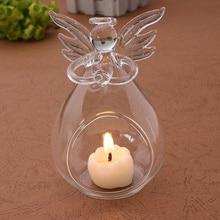 Hot Romantic Angel Crystal GlasClear Candle Holder Hanging Tea Light Candlestick Burner Vase DIY Home Wedding Party Decoration