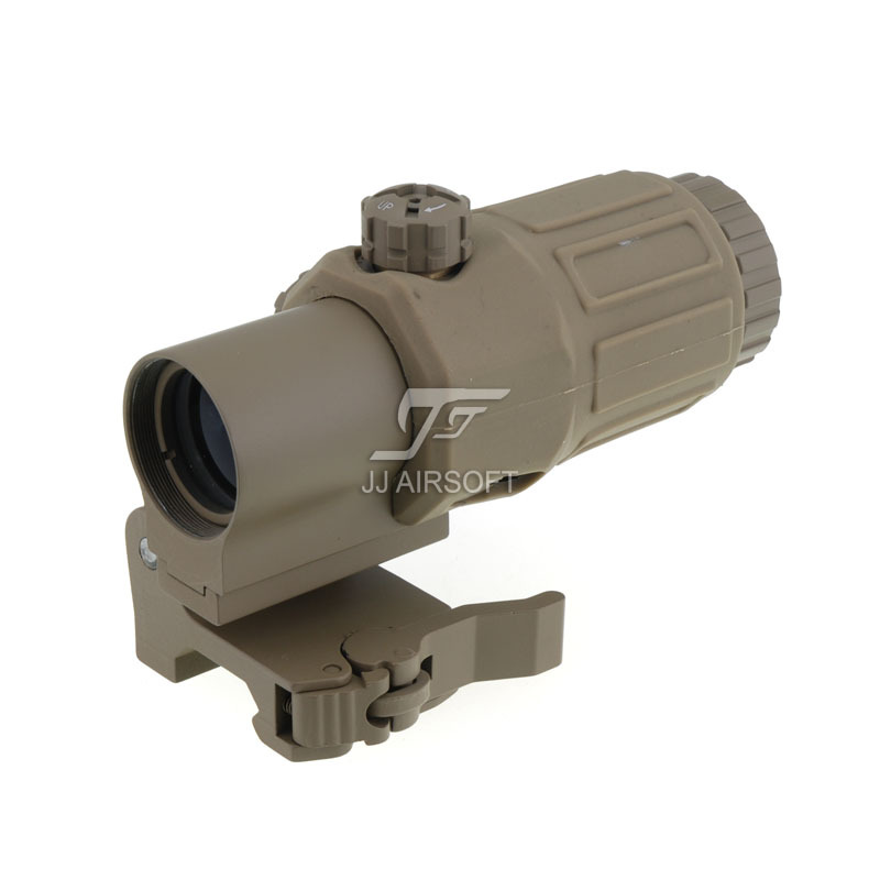JJ Airsoft G33 3X Magnifier with Switch to Side STS Quick Detachable QD Mount Tan