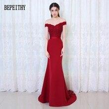 Bepeithy robe de Soiree Mermaid Burgundy long vestido de noche elegante vestido de festa long prom vestido 2017 con cinturón