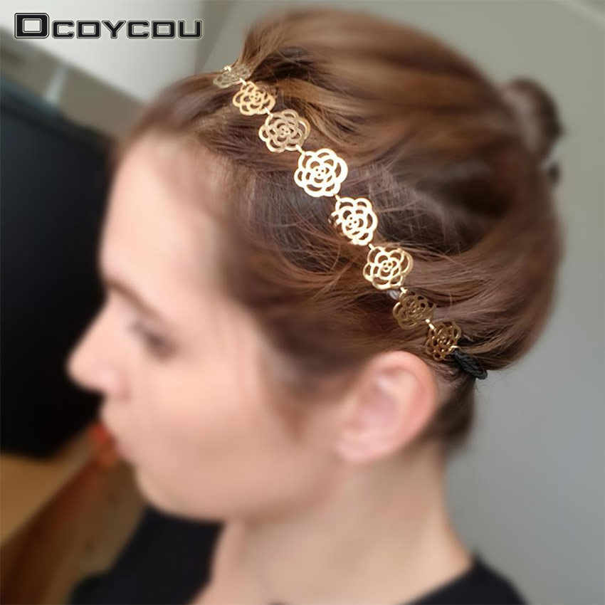 New Fashion Lovely Metallic Women Hollow Rose Flower Elastic Hair Head Band Headband Headwear Accessories