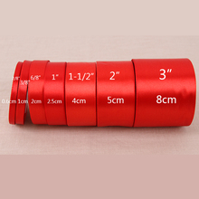 (25 Yards/roll) 6/10/15/20/25/40/50mm Red Color Single Face Satin Ribbon DIY Gift Wrapping Christmas Ribbons(China)