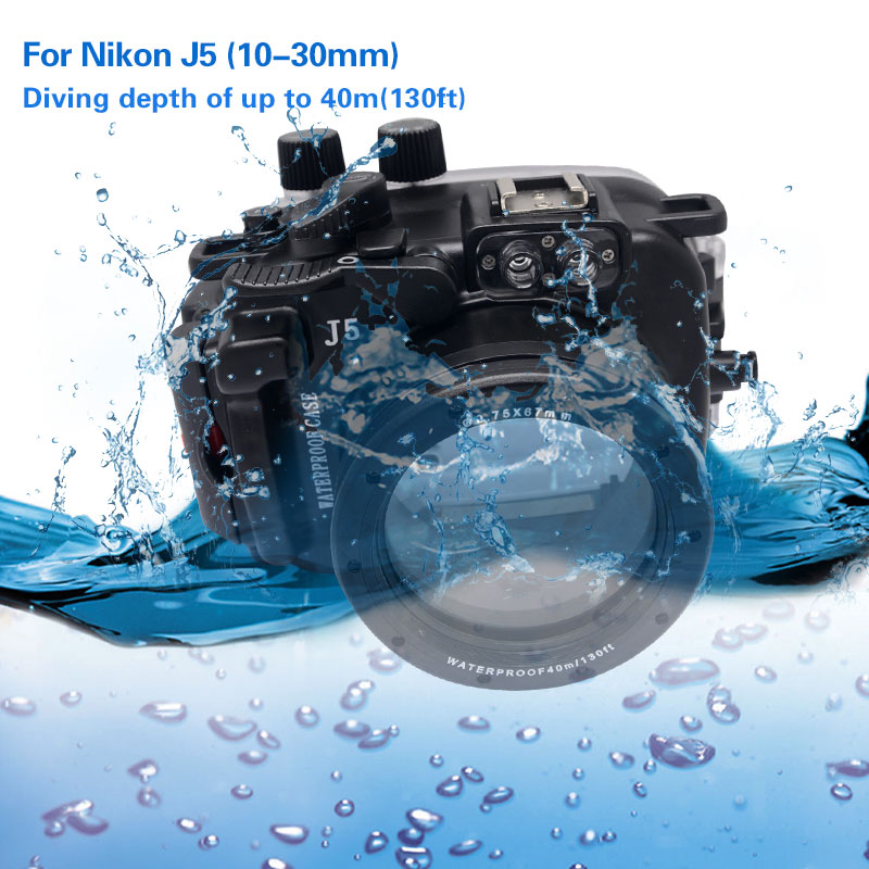 Mcoplus 40M/130ft Waterproof (IPX8) Camera Underwater Housing Waterproof Shell Case For Nikon J5 10-30mm Lens mcoplus 40m 130ft ipx8 5 5 inch underwater waterproof photo housing diving protective case cover for iphone 6 plus black