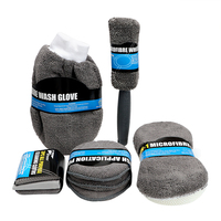 9Pcs Include 3* Microfiber Towels  3* Applicator Pads  Wash Sponge  Wash Glove  Wheel Brush Microfiber Car Wash Cleaning Kit