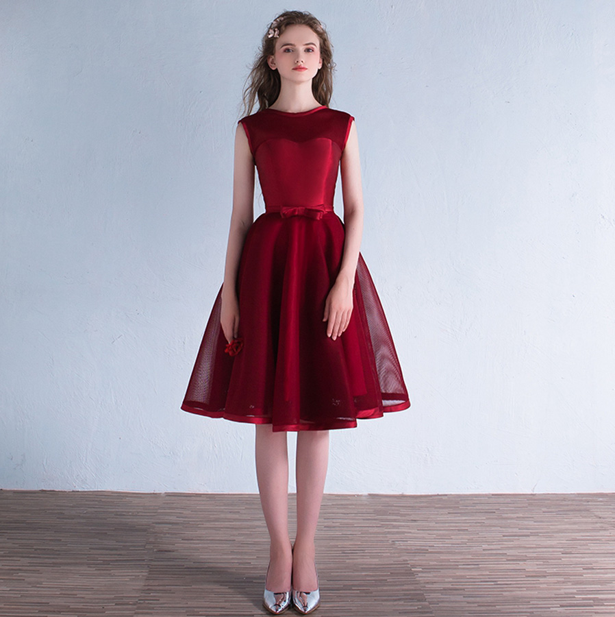 Robe demoiselle d'honneur 2019 new Tulle A Line beautiful country style burgundy   bridesmaid     dresses   short plus size cheap