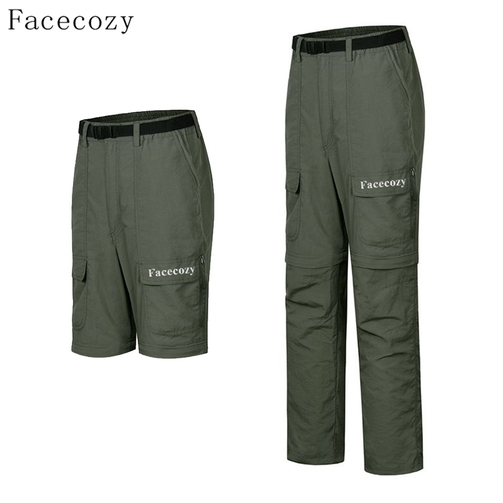 Facecozy Men Summer Thin Removable Quick Dry Hiking Pants Breathable Fishing Military Trousers Outdoor Sports Light Short Pants