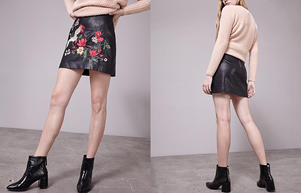 VESTLINDA Black Skirt Floral Embroidery Vintage PU Leather Pencil Skirt Women Slim High Waist Zipper Mini Ethic Plus Size Skirts 9