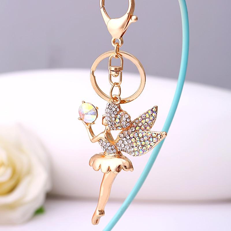Fashion Rhinestone Fairy Pendant Key Chain Ring Holder Crystal Angel Car  KeyChain llaveros Charm Bag Keyring Gift R137-in Key Chains from Jewelry ... 8b84f8527