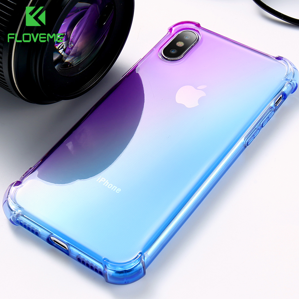 FLOVEME Case For iPhone X 10 8 8 Plus Anti knock Transparent Clear Ultra Soft TPU Cover For iPhone 6 6S 7 Plus Case Capinhas in Fitted Cases from Cellphones Telecommunications