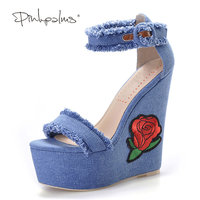 Pink Palms Women Summer New Navy Denim Platform Shoes Folk Flower Embroidered Fabric High Heels Sandals