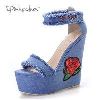 Pembe Palms kadınlar yaz ayakkabı yeni donanma denim platformu ayakkabı Halk Çiçek Işlemeli Kumaş yüksek topuklu sandalet