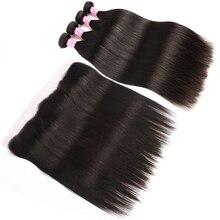 SalonChat Бразильские прямые волосы 22 24 26 28 пучков с 20-дюймовым кружевом Фронтальная Реми