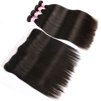 SalonChat Brazilian Straight Hair 22 24 26 28 Bundles With 20 Inches Lace Frontal Remy Natural Color Human Hair One Full Head