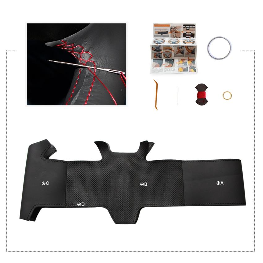 MEWANT Black Genuine Leather Car Steering Wheel Cover for Toyota Corolla 2006-2010 Matrix 2009 Auris 2007-2009