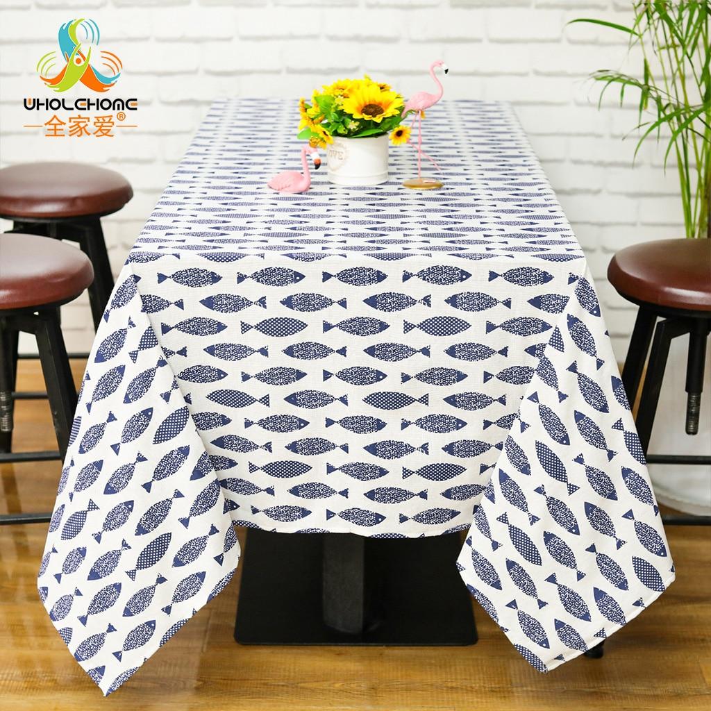 חמוד דגים מודפסים מצעי כותנה כיסוי כיסוי שולחן אוכל מפת שולחן אוכל שולחן מטבח תנור ספה הגנת מקרר עיצוב אמנות