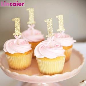 Image 1 - 10/6Pcs גליטר נייר 1 Cupcake Toppers ראשון מסיבת יום הולדת קישוטי 1st יום הולדת שלי אחד שנה תינוק ילד ילדה וגינה