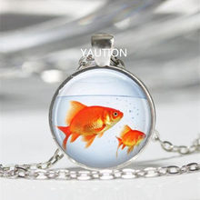 Fish Goldfish Bowl Aquarium Glass Cabochon Tibet silver pendant chain necklace(China)