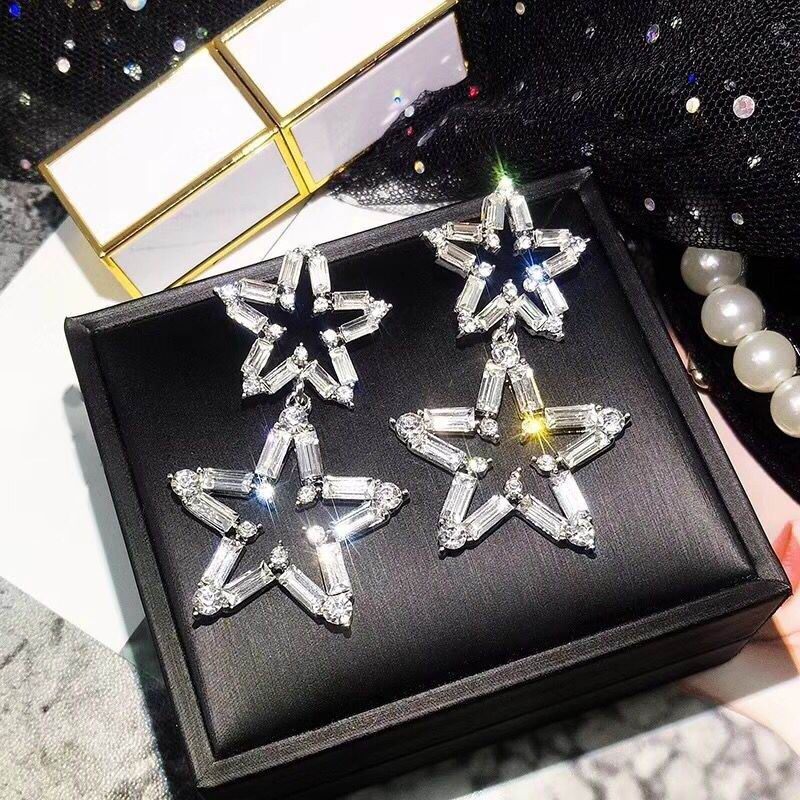 Luxury Big Star Drop Earrings For Women 19 New Rhinestone Party Statement Earrings Lucky Jewelry Korean Style 1