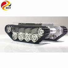 DOIT TS100 Metal Shock Absorber Robot Tank Chassis Tracked vehicle track car crawler caterpillar for Arduino diy rc toy teach diy rc tank chassis with rubber caterpillar tread track for rcl car rc tank model robot track tire rc tank chassis